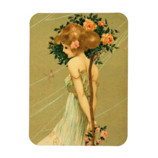 Vintage Pretty Girl With Pink Roses and Butterfly Magnet