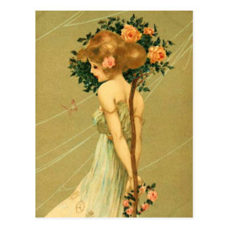 Vintage Pretty Girl With Pink Roses and Butterfly Postcard