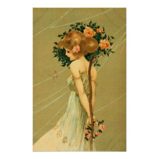 Vintage Pretty Girl With Pink Roses and Butterfly Posters