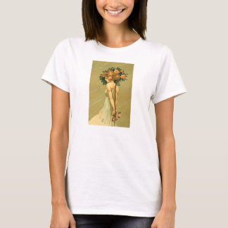 Vintage Pretty Girl With Pink Roses and Butterfly T-Shirt