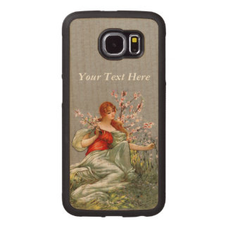 Vintage Pretty Lady Flowing Gown Picking Flowers Wood Phone Case