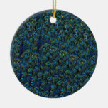Vintage Pretty Peacock Bird Feathers Wallpaper Double-Sided Ceramic Round Christmas Ornament