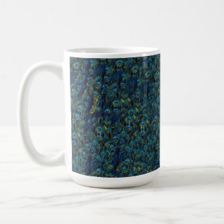 Vintage Pretty Peacock Bird Feathers Wallpaper Classic White Coffee Mug