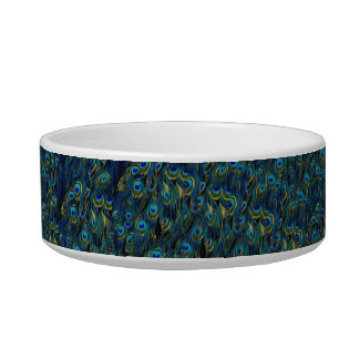 Vintage Pretty Peacock Bird Feathers Wallpaper Cat Food Bowls
