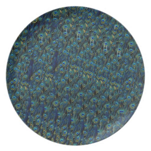 Vintage Pretty Peacock Bird Feathers Wallpaper Dinner Plate