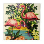 """Vintage Pretty Pink Flamingos Tile for Gift Box<br><div class=""""desc"""">A pretty pair of pink flamingos ~ unique gift Tile ~ great for a keepsake box or for a ceramic accent tile. Enjoy Tile &amp; Thanks For Stopping By!</div>"""