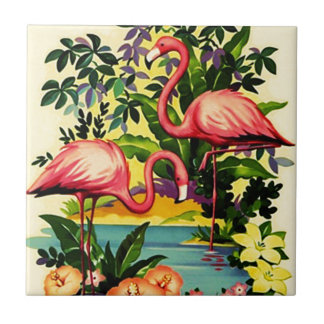 Vintage Pretty Pink Flamingos Tile for Gift Box