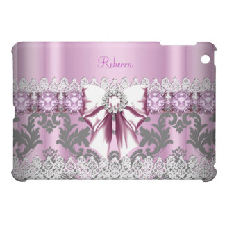 Vintage Pretty Pink Gray Grey Damask Floral White iPad Mini Cases
