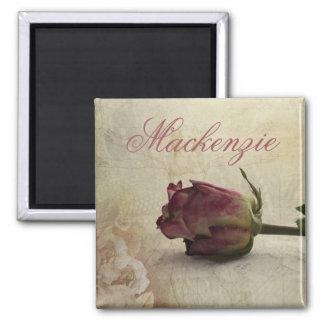Vintage Pretty Romantic Pink Rose Flower w/ Name Magnet