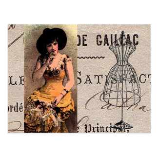 Vintage Pretty Victorian Lady Streaming Thoughts Postcard