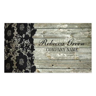 vintage primitive rustic western barn wood lace Double-Sided standard business cards (Pack of 100)