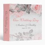 Vintage Primose Pink Gray Rose Wedding Binder