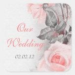Vintage Primrose Pink Rose Wedding Envelope Seal Square Sticker