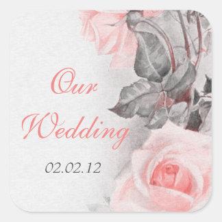 Vintage Primrose Pink Rose Wedding Envelope Seal Sticker