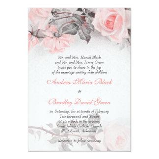 "Vintage Primrose Pink Rose Wedding Invitation 5"" X 7"" Invitation Card"