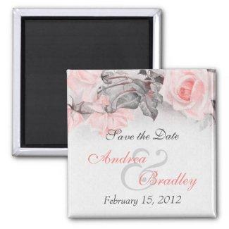 Vintage Primrose Pink Rose Wedding Magnet magnet