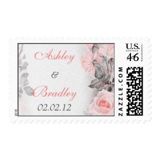 Vintage Primrose Pink Rose Wedding Postage