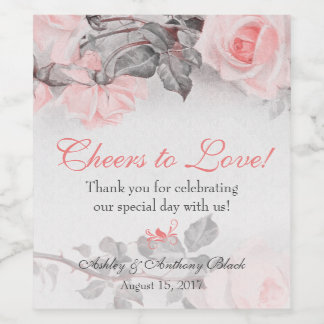 Vintage Primrose Pink Roses Wedding Wine Label