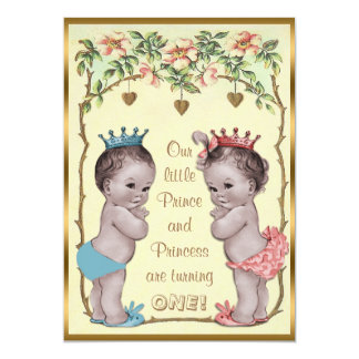 Vintage Prince and Princess Twins Birthday Card
