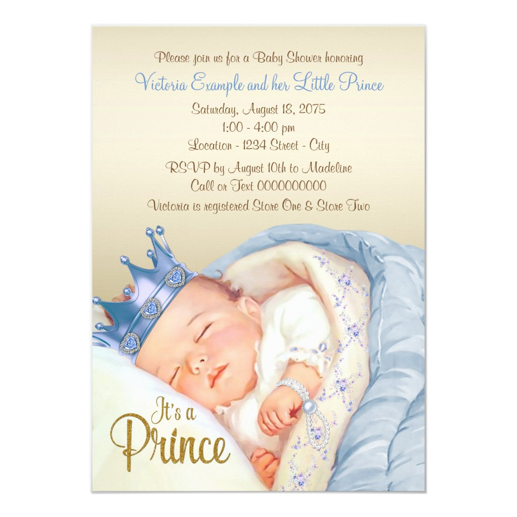 Vintage Prince Baby Blue Gold Baby Shower