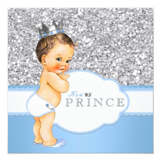 Vintage Prince Baby Shower Blue and Silver Card