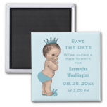 Vintage Prince Baby Shower Save the Date Blue 2 Inch Square Magnet
