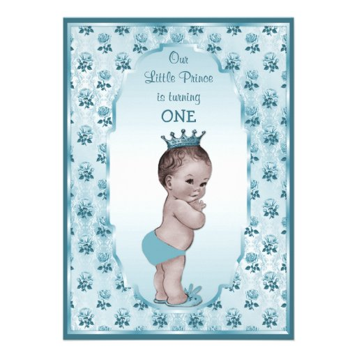 """Vintage Prince Boy And Blue Roses 1st Birthday 5"""" X 7"""