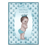 "Vintage Prince Boy and Blue Roses Baby Shower 5"" X 7"" Invitation Card"