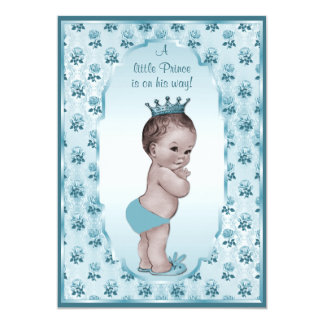 Vintage Prince Boy and Blue Roses Baby Shower 5x7 Paper Invitation Card