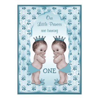 Vintage Prince Boy Twins Blue Roses 1st Birthday Personalized Invites