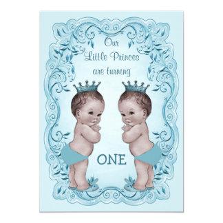 Vintage Prince Boy Twins Ornate Blue 1st Birthday Card