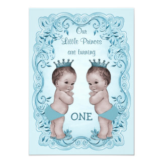 Vintage Prince Boy Twins Ornate Blue 1st Birthday Personalized Announcements