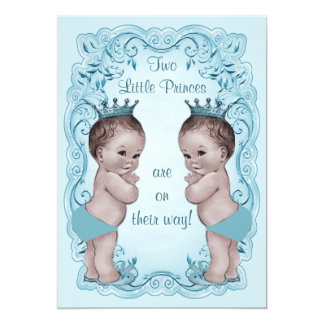 Vintage Princes Boy Twins Ornate Blue Baby Shower 5x7 Paper Invitation Card