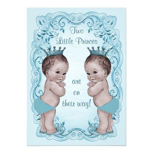 Vintage Princes Boy Twins Ornate Blue Baby Shower Custom Invitations