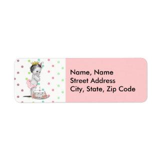 Vintage Princess Baby Birthday Address Label