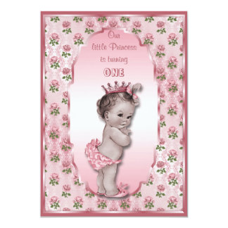 Vintage Princess Baby Girl and Pink Roses Birthday 5x7 Paper Invitation Card