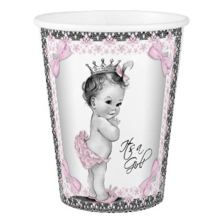 Vintage Princess Baby Girl Pink Gray Baby Shower Paper Cup