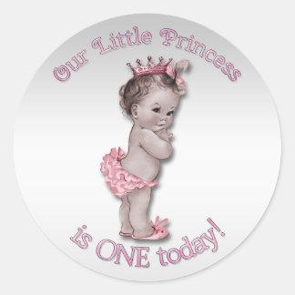 Vintage Princess Baby One Year Birthday Classic Round Sticker