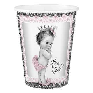 Vintage Princess Baby Pink Gray Girl Baby Shower Paper Cup