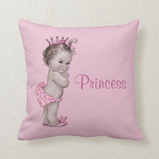 Vintage Princess Baby Pink Throw Pillows