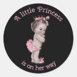 Vintage Princess Baby Shower Black Pink Sticker