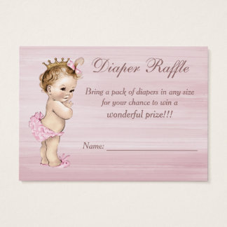 Vintage Princess Baby Shower Diaper Raffle Business Card