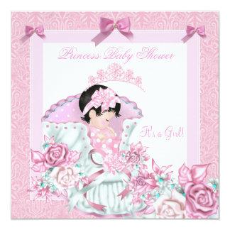 Vintage Princess Baby Shower Girl Pink Damask Rose Card