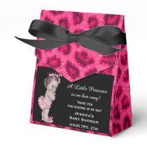Vintage Princess Baby Shower Leopard Pattern Favor Box
