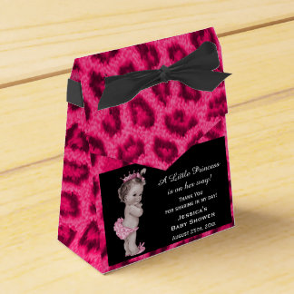 Vintage Princess Baby Shower Leopard Pattern Party Favor Box