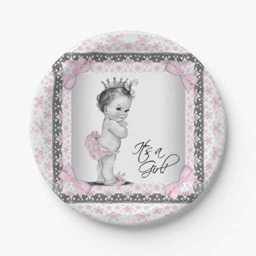 Baby Shower Plate: Vintage Princess Baby Shower Paper Plate