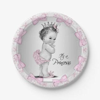 Vintage Princess Baby Shower Paper Plates