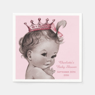 Vintage Princess Baby Shower Personalized Napkin