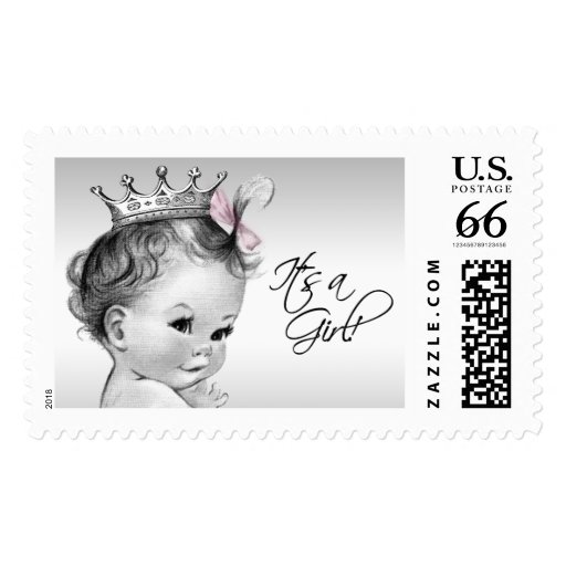 adorable white and pink princess baby girl baby shower postage stamps
