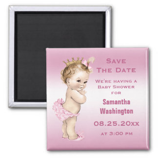 Vintage Princess Baby Shower Save the Date Pink Magnet